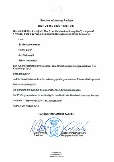 Berufungsurkunden Prüfungsausschuss 2014 - 2019