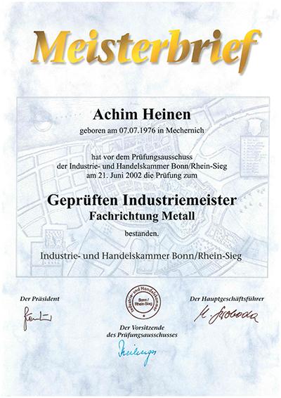 Meisterbrief A. Heinen