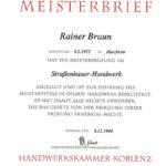 Urkunde Meister R. Braun