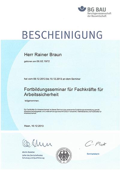 Urkunde R. Braun Fortbildung FaSi