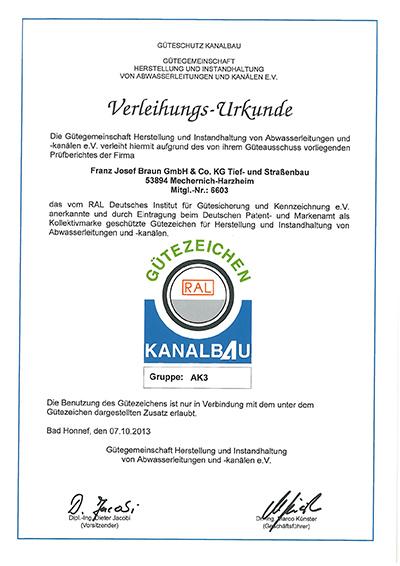 Urkunde Gütezeichen Kanalbau