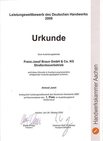 Urkunde J. Ahmed Leistungswettbewerb