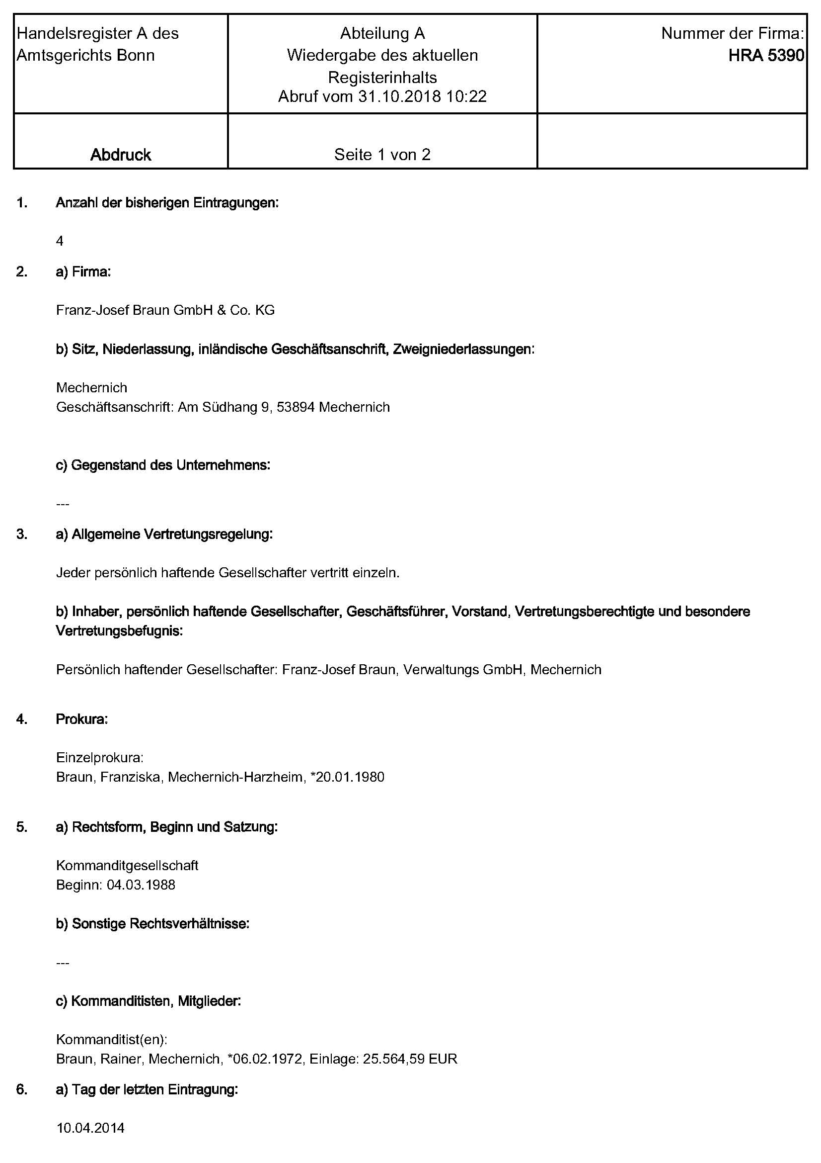 Weitere Firmennachweise Franz Josef Braun Gmbh Co Kg